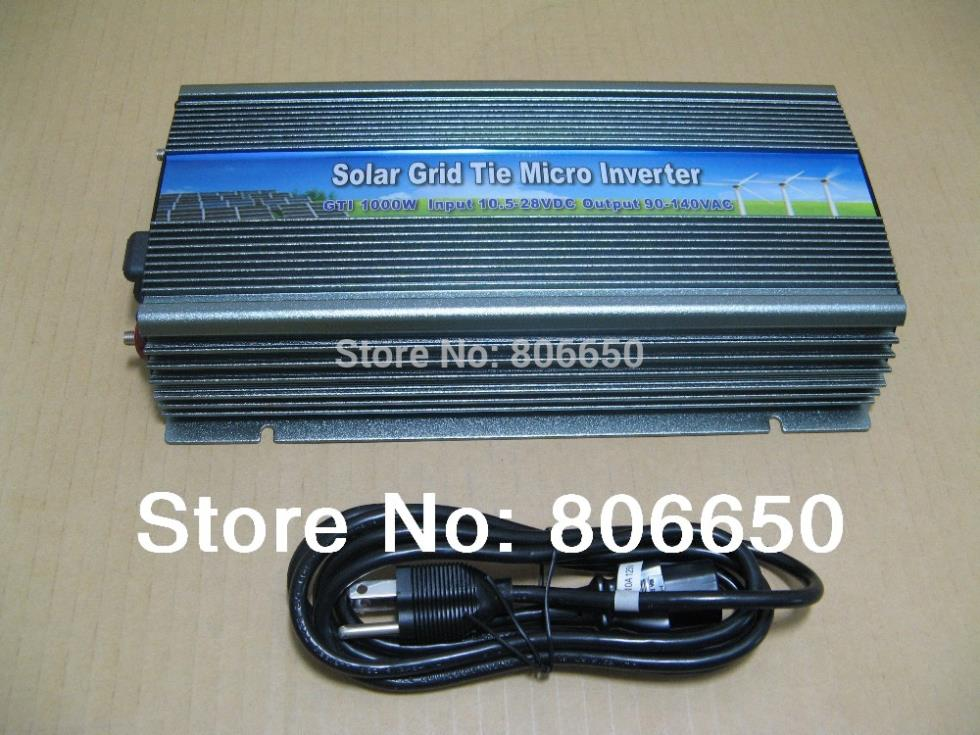1000W solar panel inverter 12V-110V micro grid tie inverter for solar home system, MPPT function Grid tie power inverter 1000W(China)