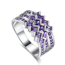 WHOLESALE silver Big Ring exaggerated Puple Wave Unique chic style Ring women lady xmas wedding lover's Fine jewelry(China)