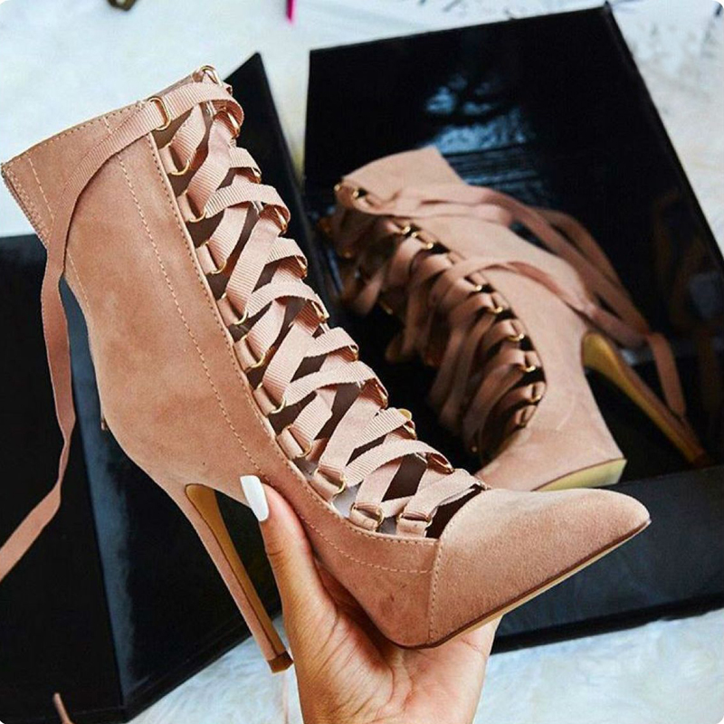 Pink/Black Sapato Feminino High Heel Brand Shoes Women Pre Spring Lace Up Pump Stiletto Gladiator Shoes Short Bootie Ankle Boots<br><br>Aliexpress