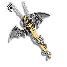 Cool Pterosaur Sword Chain Long Pendant Fashion Necklace Gift For Men Necklace Dragon Punk Jewelry Factory Direct Sale