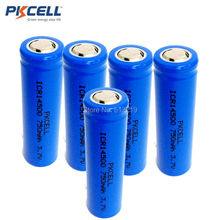 5Pieces PKCELL Cylinder ICR14500 14500 750mAh Batteria Liion Rechargeable Lithium Batteries For Torches LED Flashlights Battery(China)