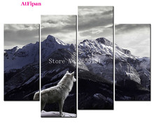 AtFipan Unframed Canvas Photo Prints White Wolf Looked At The Snow-capped Mountains Wall Art Picture HD Modular Wall Paintings