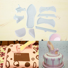 9pc Cake Mold Woman Fashion High Heel Shoe Cookie Plastic Cutter Press Mold Fondant Tools Cake Decoration Sugarpaste craft(China)