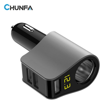 CHUNFA 3 Ports USB Car Charger with LED Digital Car Cigarette Lighter Car-Charger USB Charge Adapter Voltage Tester 80W 3.1A(China)