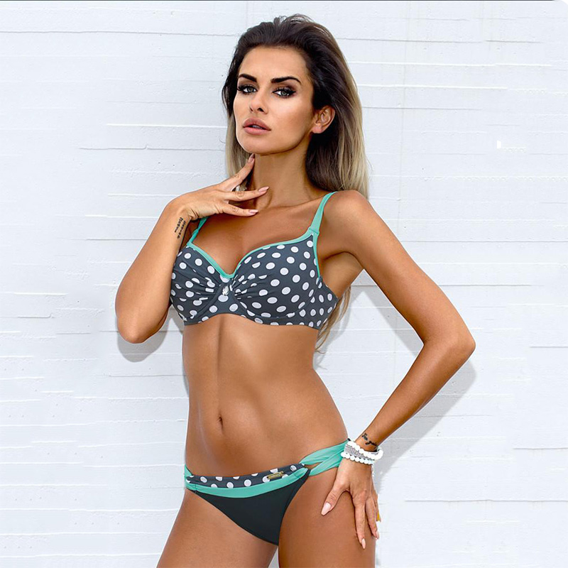 Bikini 17 Sexy Brazilian Swimwear Striped Push-up Swimsuit Women Sexy Bikini Set Dot Bathing Suit Plus Size Beach wear Biquini 15