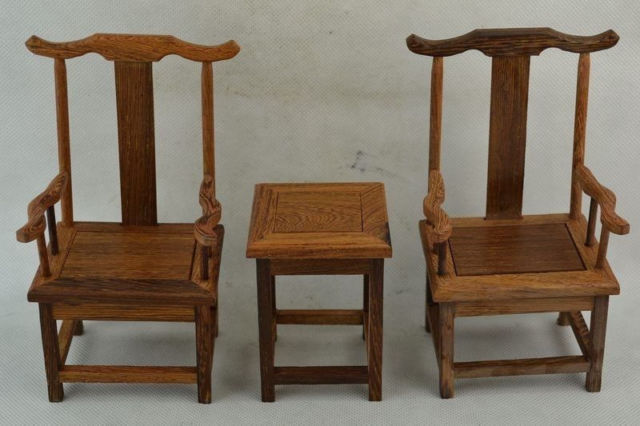 Old Collectible Decorated Wonderful Hand Boxwood Carving Set Chair & Table