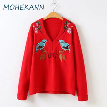 Mohekann Elegant Red Women Sweaters V-Neck Embroidery Pullovers Autumn Female Knitted Cashmere Sweater Ladies Jumper Tops High Q