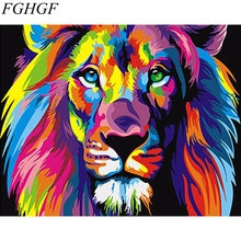 FGHGF Frameless Picture Colorful Lion Painting By Numbers Wall Art Acrylic DIY Oil Canvas Painting Home Decoration For Living