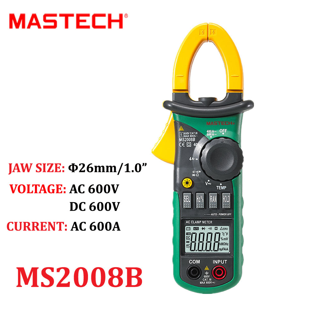 Digital Multimeter MASTECH MS2008B Ampers Clamp Meter Current Clamp Pincers AC Current AC/DC Voltage Capacitor Resistance Tester<br>