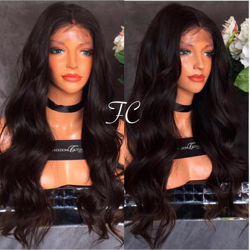 Free Shipping 24 inches Heat Resistant Black Long Natural Body Wave Synthetic Lace Front Wig for Black Women Perruque<br><br>Aliexpress