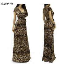 Buy 2015 Summer style Women Nightclub dresses vestidos Sexy V-neck short sleeve Maxi dress Leopard Package Hip long dress 950 DX for $10.99 in AliExpress store
