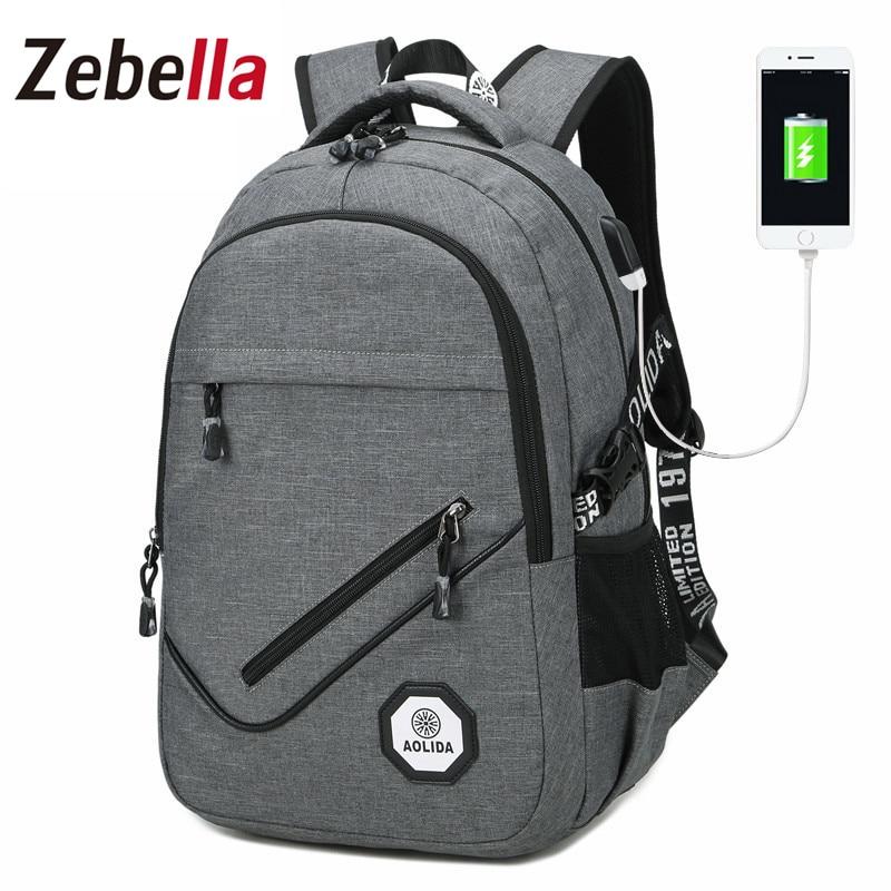 ZEBELLA 2017 Fashion Large Capacity Laptop Backpack Men With USB Charging Oxford Bag Rucksack Daypack Travel Bag Schoolbag<br>