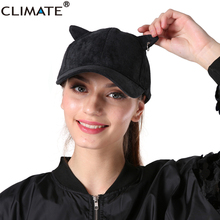 CLIMATE Unique Corduroy Iron Hoop Cute Cat Ears Warm Baseball Caps Sport Adjustable Khaki Black Hats For Adult Men Women Unisex