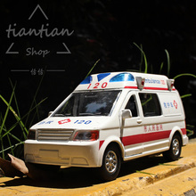 1:32 Alloy car model ambulance series ambulance 120 Sound and light Back to power Children like the gift Family Decoration