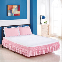 Bed-Skirt Wrap Elastic-Band Around Ruffled Hotel Home Solid Three-Layers Tailored Without-Sheet