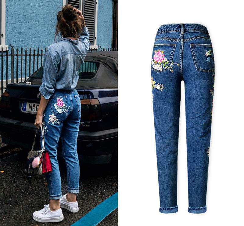2017 Europe and the United States women's three-dimensional 3D heavy craft bird flowers before and after embroidery high waist Slim straight jeans large code system 46 yards (5)