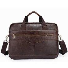 """Special offer wholesale Genuine leather bag Vintage Shoulder Messenger Bag 14"""" Laptop bag Vintage Big business men briefcase"""