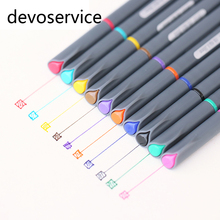 10Pcs/Lot Fine Line Drawing Pen For Cartoon Advertising Design Water Color Pens Stationery Office School Supplies(China)