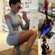 Fashion Autumn Winter Women Sexy Dresses Long Sleeve Solid Color Off Shoulder High Neck Lady Girl Bodycon Dress S-3XL FS