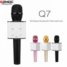 Wireless Microphone Pocket Party KTV Sing karaoke OK Wireless Bluetooth Q7 Microphone With Speaker For IPhone Android Smartphone(China)