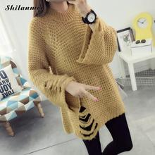 2017 Autumn Hoolow out Knitting Womens Blue Sweater christmas jumper Woolen Women Sweaters Pullovers Long Sleeve Sweater Dress