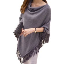 2017 women spring autumn knitted sweater poncho coat solid elegant Pullover Jumper Irregular tassel hem cape cloak Pull Femme(China)