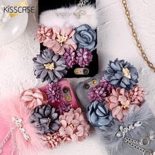 KISSCASE Luxury Glitter Pendant Case For iPhone 6 6s 3D Flower Rhinestone Crystal Fur Hairy Cover Coque For iPhone 7 7 Plus Case