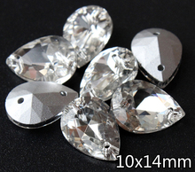 240pcs/lot High Quality 10x14mm clear Crystal very Shiny crystal glass beads tear drop Shape Sewing Rhinestones SjkjSdCr(China)
