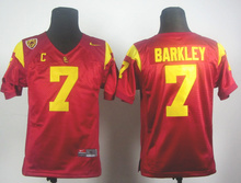 Nike Youth USC Trojans Matt Barkley 7 Red Pac-12 C Patch College Ice Hockey Jerseys Size S,M,L,XL(China)