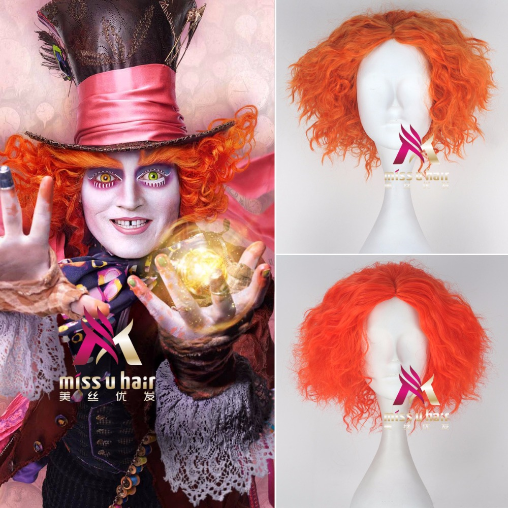 Perruque cosplay wig pelucas sinteticas short red kinky curly Disguise Mens Mad Hatter peruca vermelha<br><br>Aliexpress