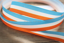"100 Yards 3/8"" (9-10mm) of single-sided orange white and sky blue striped Wedding Craft grosgrain ribbon"