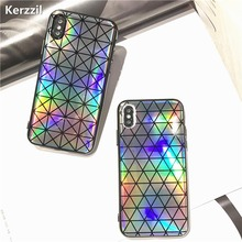 Kerzzil Shining Triangle Square Laser Phone Case For iPhoneX Fashion Geometric Cases For iphone X Soft Silicone Back Cover Capa(China)