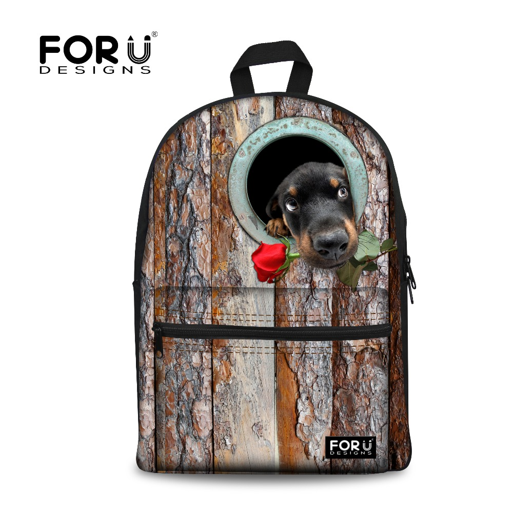 New Brand Casual 3D Canvas Women Travel Backpack Puppy Dog&amp;Rose Fashion Backpack For Teenager Girl Korean Mujer Mochila Feminina<br>