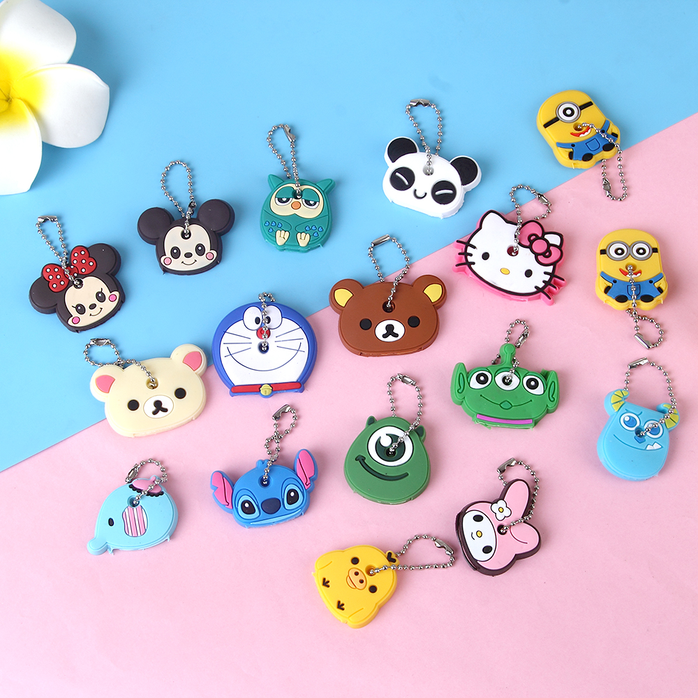 Anime Silicone Cat Key Cap Minion Key Chain Women Bag Charm Key Holder Stitch Key Ring Owl Keychain Mickey Hello Kitty Key Cover(China)