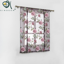 Kitchen short sheer burnout roman blinds curtains peony sheer panel tulle window treatment door curtains home decor rideaux(China)