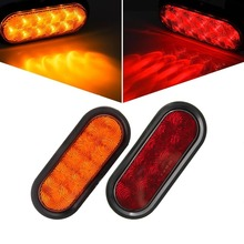 "2x 6"" Oval Red/Yellow 12v 10 Led  Car covers Surface Mount Amber Trailer Truck Stop Turn Tail Light Sealed Car light assembly"
