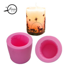 7.8*7.8*6.9cm Cylinder Christmas Silicone Candle Mold 3D Fondant Cake Decorating Tools Sugarcraft Mould