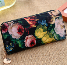 stacy bag hot sale new arrival women leather handbag female floral flower printing zipper wallet ladies painting purse clutch