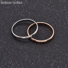 fashion lychee Ring Polished Stainless Steel Jewelry 2Colors 2mm Band Knuckle Tail Pinky Ring Men Gift