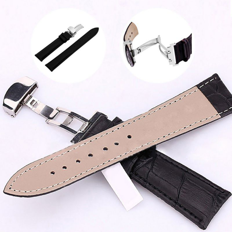 Genuine Leather Strap Polished Stainless Steel Butterfly Clasp Deployant Buckle Watch Band 16-24mm<br><br>Aliexpress