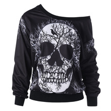Gamiss 2017 Newest 3D Print Christmas Halloween Skull Theme Pullover Hoodies For Women Causal Loose Plus Size Sweatshirts Femme(China)