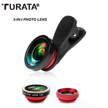 Buy TURATA 3 1 Optics Phone Camera Lens Kit 180 Degree Fisheye + 0.4X Wide Angle + 10X Macro Clip-on Fish Eye Lens Smartphone for $12.31 in AliExpress store