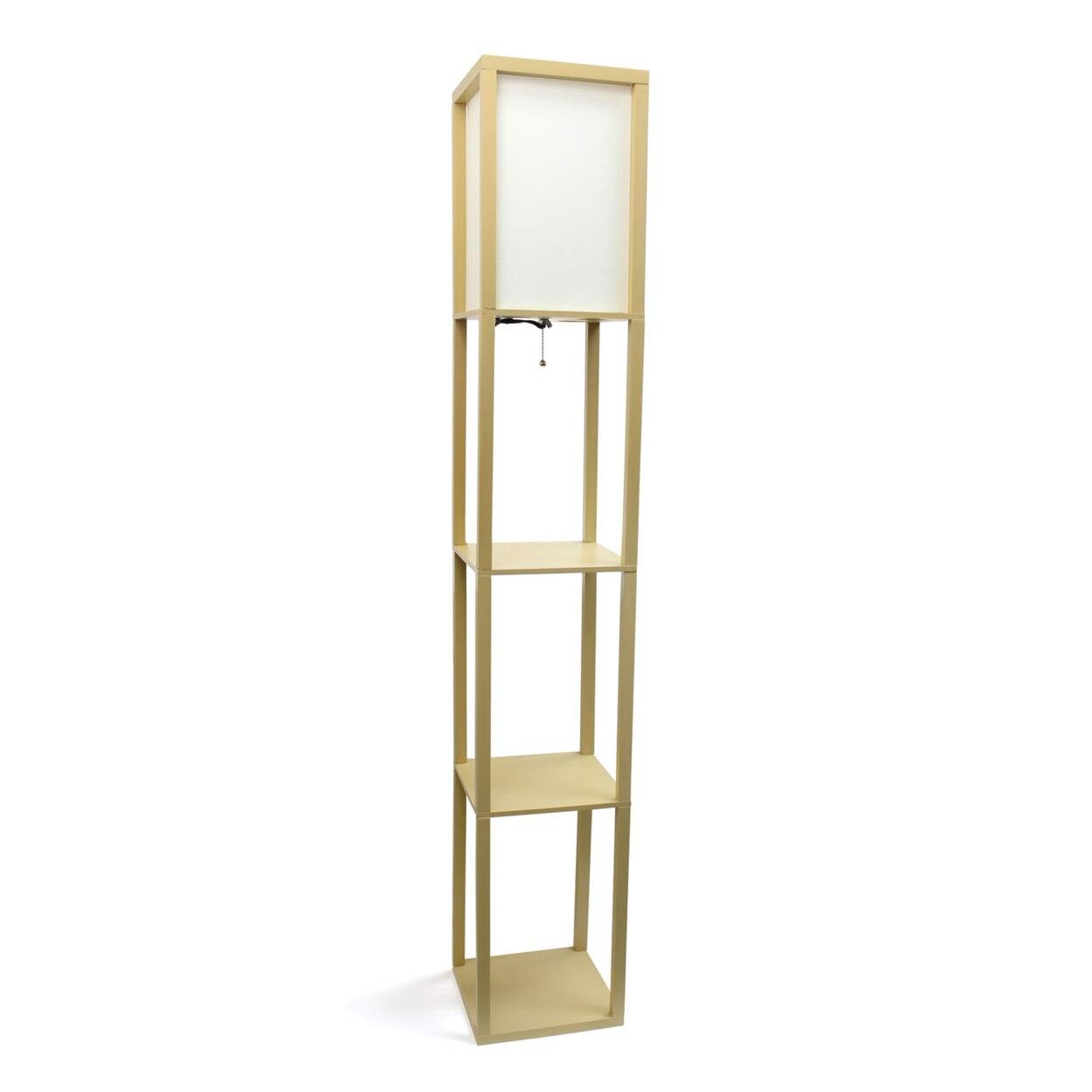 Simple Designs Floor Lamp Etagere Organizer Storage Shelf Linen Shade - Additional Colors (1)