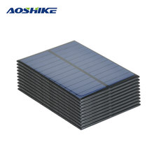 Aoshike 10pcs 6V 1.1W Solar Panel Photovoltaic Solar Energy Cell Diy Power Bank Sunpower Cell Portable Charger 112*84mm(China)