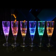 Fashion Creative 150ml Plastic LED Colorful Champagne Goblet Inductive Color Cup for Party Wedding 6Pcs