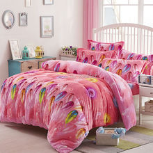 Colorful Feather Red Warm Soft Fluffy Plush Flannel Fleece 4Pcs Queen Size Bed Quilt/Duvet/Doona Cover Set Cartoon Geo Flora