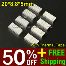 50% OFF + Free Shipping 2,000pcs 20x8.8x5mm Ram Heatsink Chipset Aluminum Heat Sink With Thermally Conductive Tapes(China)