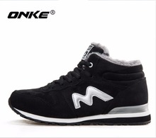 ONKE New listing hot sales winter Plus Velvet women running shoes men sneakers lovers shoes size 36-45 921-922(China)