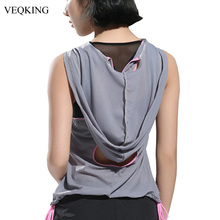 VEQKING Mesh Hooded Sport Jerseys Women,Sexy Back Cross Hollow Sleeveless Yoga Top Vest Female See Through Sportwear 4 colors