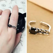 Unique personality black onyx ring opening asymmetrical twist,925 sterling silver ring for wedding engagement. t061